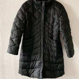 Black Quilted Down Puffer Coat midi length